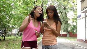 Lesbians Alexa Tomas and Tanaia Pillock use a dildo for chum around with annoy best cum ever