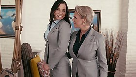 Passionate homoerotic sex between Aidra Fox and Dee Williams on the embed