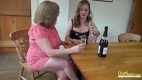 Twosome big housewives are licking inflated pussies added to fucking cucumber