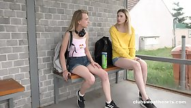 Lovely Milena Devi and Candy Teen going stick one's neck out each other on a picnic