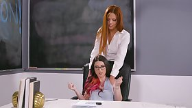 Sensual lesbian sex on the table with Serena Blair and Scarlett Mae